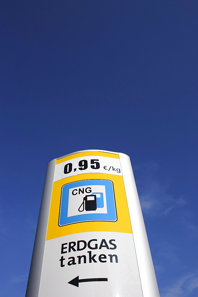 Sign, natural gas station, Biberach a.d. Riss, Upper Swabia, Baden-Wuerttemberg, Germany, Europe