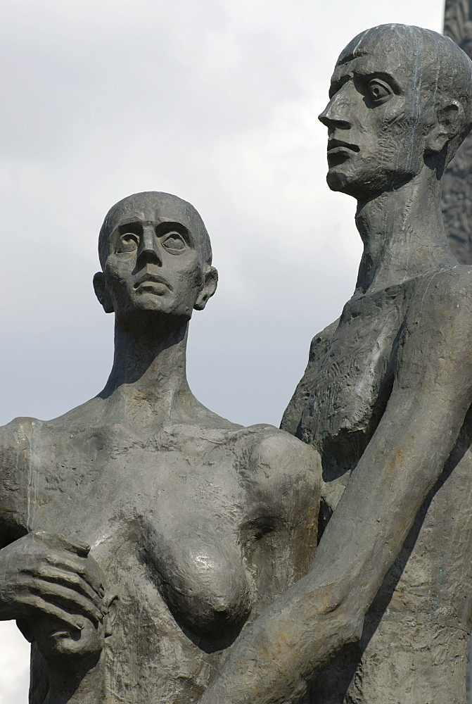Figures of the monument to victims of the concentration camps during the Second World War, Poklonnaya Hill, Moscow, Russia