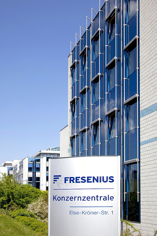 Sign with the logo of the corporate headquarters of the Fresenius SE company in Bad Homburg von der Hoehe, Hesse, Germany, Europe