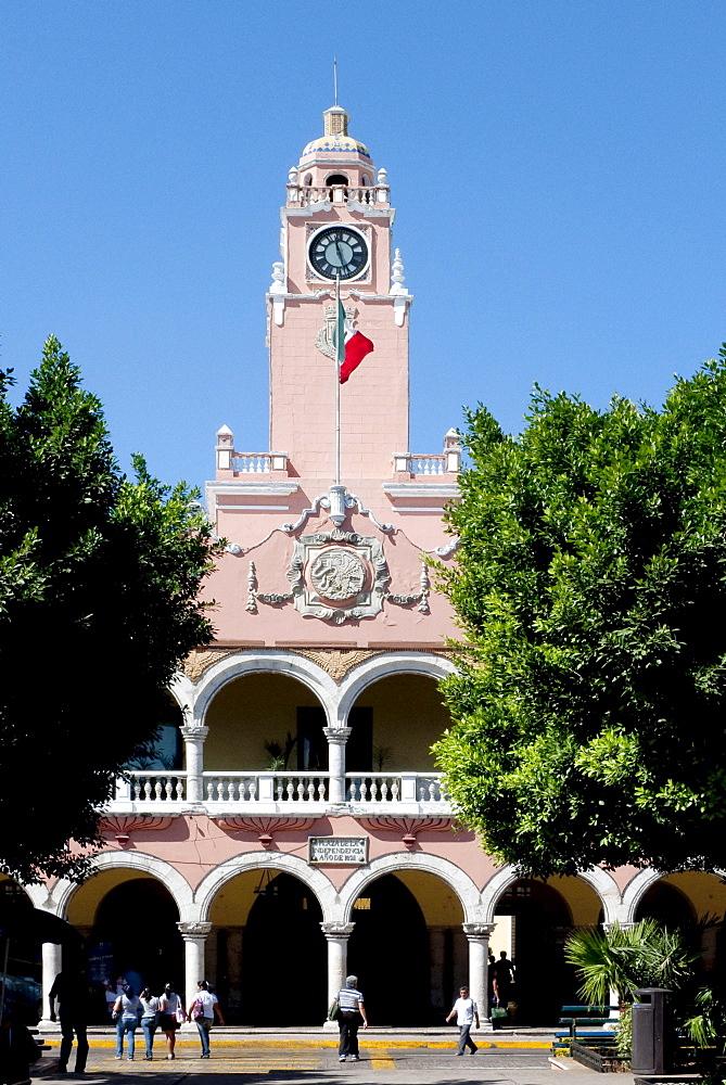 City Hall Palacio Municipal on Plaza Mayor square in Merida, Yucatan, Mexico, Central America