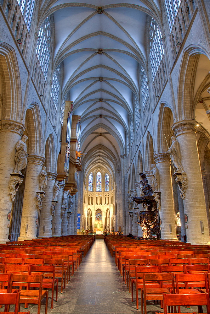 St. Michael and Gudula Cathedral, interior view, Brussels, Belgium, Europe