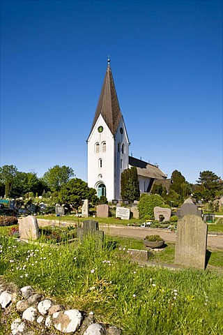 Cemetery, St. Clemens Church, Nebel, Amrum, North Frisia, Schleswig-Holstein, Germany