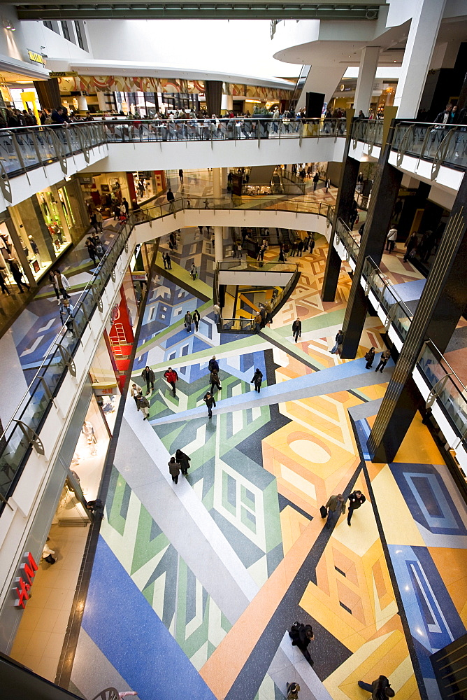 Multistory shopping mall adorned with colourful floors, Alexa Shopping Center, Berlin, Germany, Europe