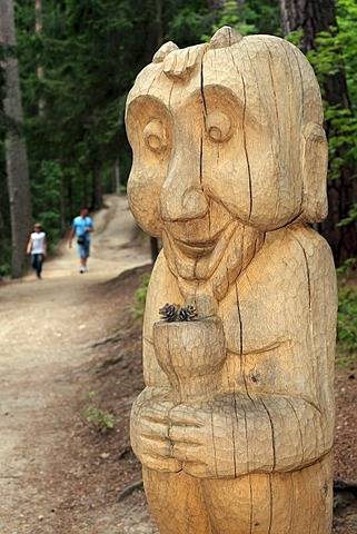 Wooden sculpture, witch mountain in Juodkrante, Kuroeiu Nerija National Park on the Curonian Spit in Lithuania