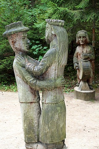 Wooden sculptures, witch mountain in Juodkrante, Kuroeiu Nerija National Park on the Curonian Spit in Lithuania
