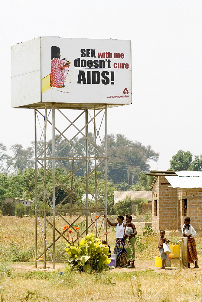 "HIV/AIDS campain creating awareness concerning the myth of a ""virgin cure"", Magoye, Mazabuka, Zambia, Africa"