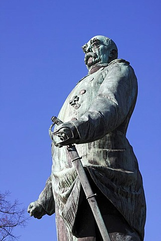 Bismarck statue, memorial to Bismarck in the Hiroshima Park in Kiel, Schleswig-Holstein, Germany
