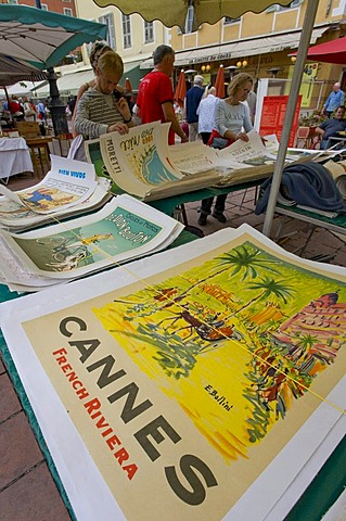 Historic posters, flea market on Cours Saleya, Nice, Cote d'Azur, France