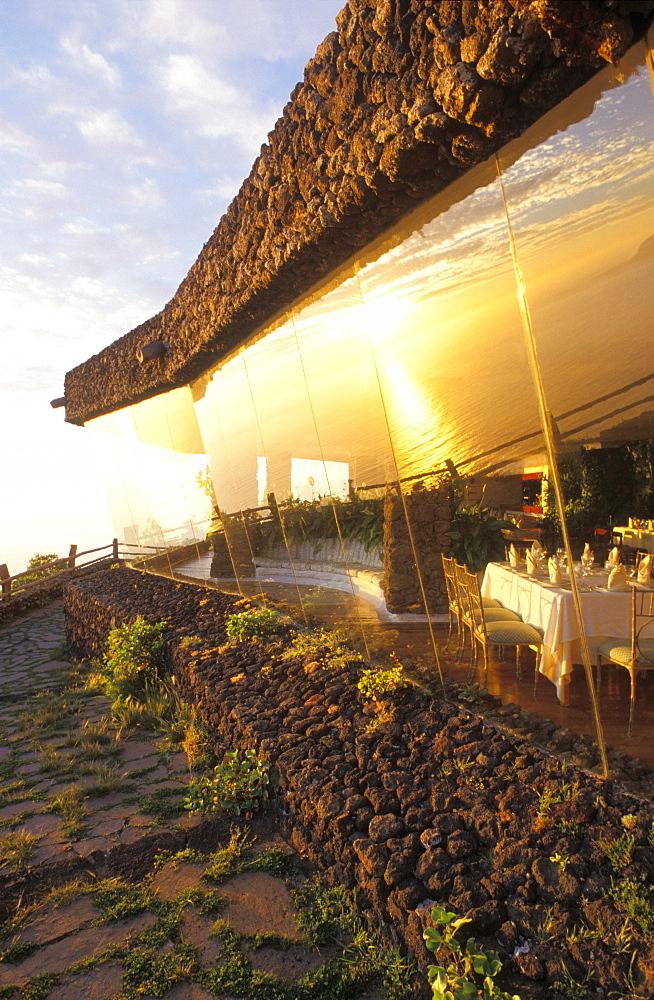 Restaurant at the Mirador de la Pena, architect Cesar Manrique, El Hierro, Canary Islands, Spain, Europe