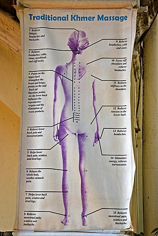 Poster, traditional Khmer massage, Cambodia, south-east Asia
