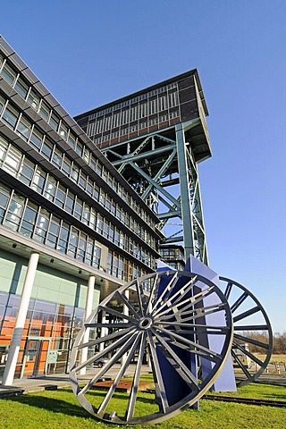 Hammer head tower, former Minister Stein coal mine, structural change, science park, industrial culture route, Ruhr district, Eving, Dortmund, North Rhine-Westphalia, Germany, Europe