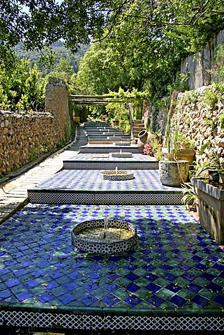 Garden, water feature, manor house, open air museum, La Granja, Esporles, Majorca, Balearic Islands, Spain, Europe