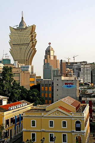 View of Macau, Grand Lisboa, 258 metres, casino, Macau, China, Asia