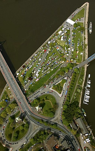 Aerial photo of a car-boot sale, Ruhrort district, North Duisburg, North Rhine-Westphalia, Germany, Europe