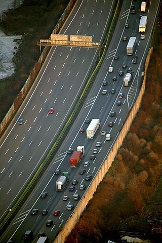 Aerial view, traffic jam on Autobahn A2, Dortmund, Ruhr Area, North Rhine-Westphalia, Germany, Europe