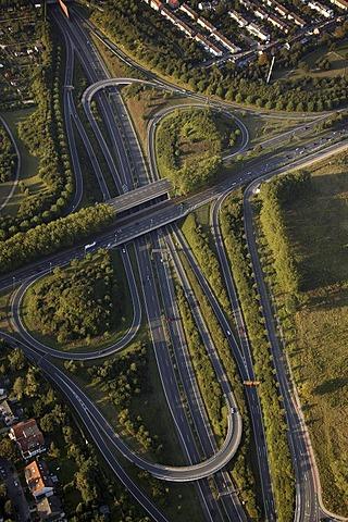 Aerial view, Stadtkrone Ost, intersection A40 B236n, Dortmund, Ruhr Area, North Rhine-Westphalia, Germany, Europe