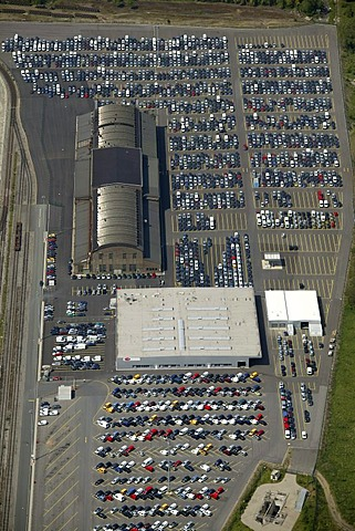 Aerial photograph, Logport Logistic Centre, Duisburg-Rheinhausen, North Rhine-Westphalia, Germany, Europe