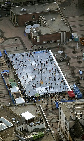 Aerial picture, ice-rink on Kennedy-Platz Square, Essen, Ruhr area, North Rhine-Westphalia, Germany, Europe