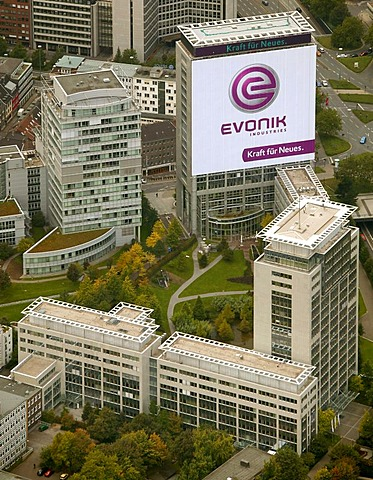 Aerial picture, the former RAG Group Building bearing the new company name EVONIK, head quarters of the Evonik Industries AG, Essen, Ruhr area, North Rhine-Westphalia, Germany, Europe