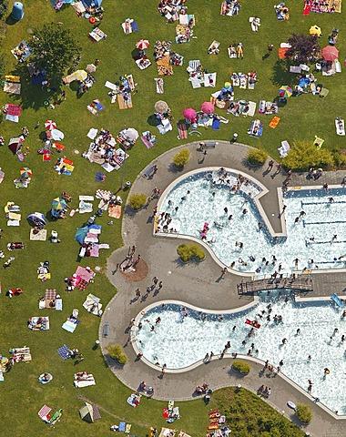 Aerial photo, outdoor pool, Suedpol outdoors swimming pool, Herne, Ruhr area, North Rhine-Westphalia, Germany, Europe