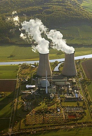 Aerial photograph, AKW, Atomkraftwerk, atom power plant, two cooling towers evaporating water, shadows, Grohnde, Emmerthal, Lower Saxony, Germany, Europe