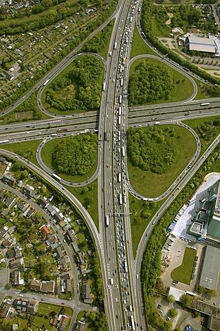 Aerial photograph, 4-leafed clover, Autobahnkreuz Leverkusen motorway intersection, traffic jam, Leverkusen, North Rhine-Westphalia, Germany, Europe