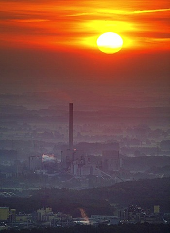 Aerial view, Westfalen RWE Power Energy Plant with sunset, Uentrop, Hamm, Ruhr Area, North Rhine-Westphalia, Germany, Europe