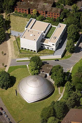 Aerial photo, Jewish synagogue beside the planetarium, Bochum, Ruhr area, North Rhine-Westphalia, Germany, Europe