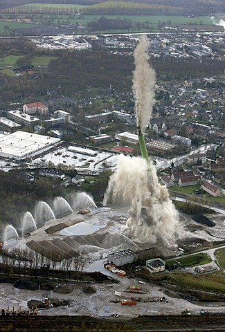 Aerial photo, chimney being blown up, E.ON power station, Castrop-Rauxel, Ruhr area, North Rhine-Westphalia, Germany, Europe
