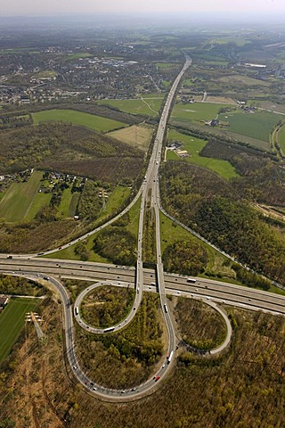 Aerial photo, Dortmund north west motorway junction, A2, A45, start of the so-called Sauerlandlinie, Castrop-Rauxel, Ruhr area, North Rhine-Westphalia, Germany, Europe
