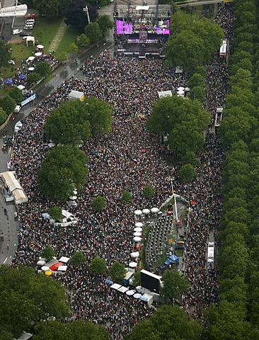 Aerial photo, Loveparade 2008 festival, crowd on the B1 road, Dortmund, Ruhr area, North Rhine-Westphalia, Germany, Europe