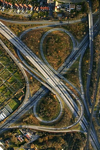Aerial view, Autobahnkreuz Herne A43 and A42, motorway junction, Boernig, Herne, Ruhr Area, North Rhine-Westphalia, Germany, Europe