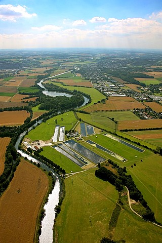 Aerial view, River Ruhr, Warmen Waterworks, Froendenberg, Ruhr Area, North Rhine-Westphalia, Germany, Europe