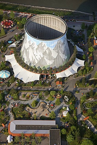 Aerial photograph, cooling tower, nuclear power station, fast breeder reactor, Nuclear Water Wonderland amusement park, Kalkar, Rhine, Rhineland, North Rhine-Westphalia, Germany, Europe