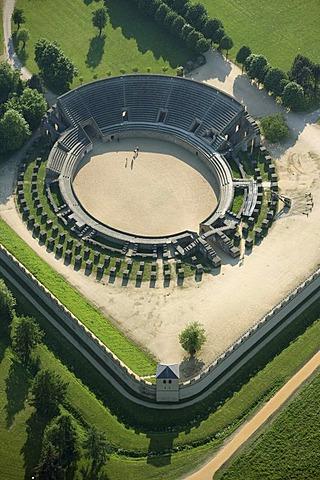 Aerial view, reconstructed colosseum, fighting grounds, Archaeologischer Park Xanten, Xanten Archaeological Park, Colonia Ulpia Traiana in Xanten, Lower Rhine Region, North Rhine-Westphalia, Germany, Europe