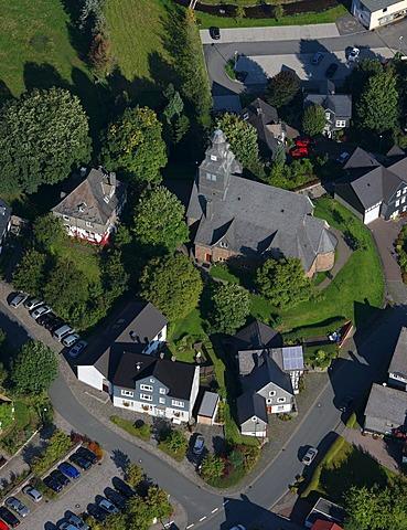 Aerial photograph, church, Erndtebrueck, Kreis Siegen-Wittgenstein, Sauerland, North Rhine-Westphalia, Germany, Europe