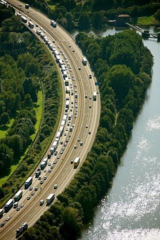 Aerial photograph, congestion on the motorway A1, Hensteysee, Hagen Boele, Ruhr Area, North Rhine-Westphalia, Germany, Europe