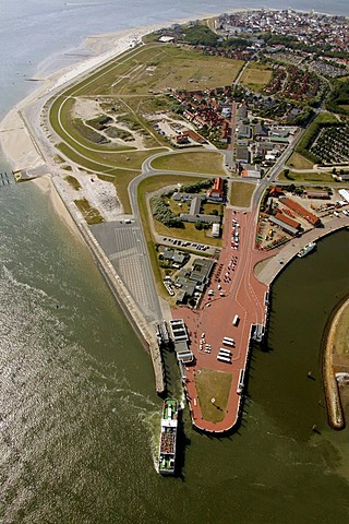 Aerial view, ferry, Norderney Island, North Sea, East Frisian Islands, Lower Saxony, North Germany, Europe