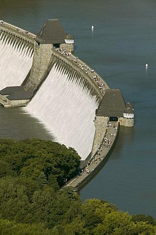 Aerial photograph, concrete dam, Moehne Reservoir, Delecke, Soest region, Sauerland, North Rhine-Westphalia, Germany, Europe