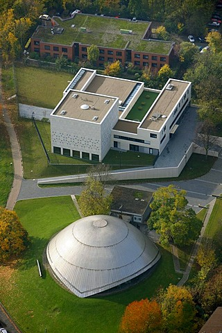 Aerial photograph, Bochum Synagogue, Bochum Planetarium, Hildegardis School, Bochum, Ruhr district, North Rhine-Westphalia, Germany, Europe