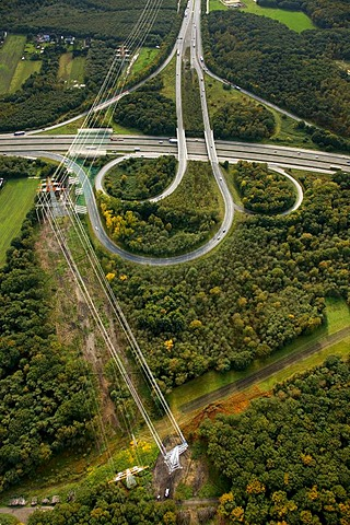 Aerial picture, Dortmund North-West highway junction, high tension road, A2, A45, Sauerlandlinie, Castrop-Rauxel, Ruhr area, North Rhine-Westphalia, Germany, Europe