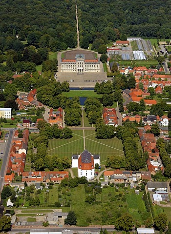 Areal view, baroque castle Ludwigslust, town church, Ludwigslust, Mecklenburg-Western Pomerania, Germany, Europe - 832-244703