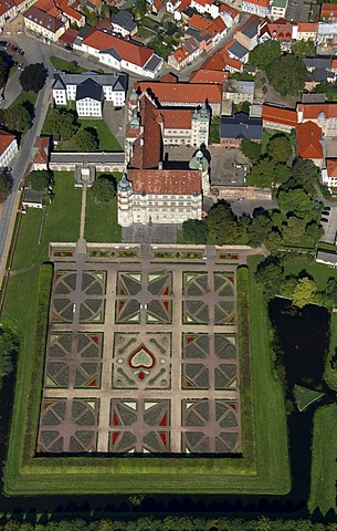 Areal view, Guestrow Castle, baroque garden, Barlachstadt, Guestrow, Mecklenburg- Western Pomerania, Germany, Europe - 832-244740