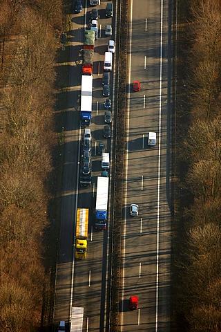 Aerial photo, traffic jam on the A43 autobahn, Bochum, Ruhr district, North Rhine-Westphalia, Germany, Europe