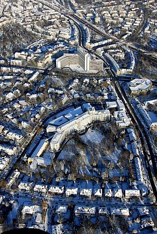 Aerial photo, power supplier Gazprom, headquarters, Ruhrgas Eon, snow, Essen, Ruhrgebiet, North Rhine-Westphalia, Germany, Europe