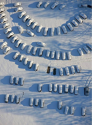 Aerial photo, parking lot for used cars, industrial area Gewerbegebiet Sued, snow, Haltern, Ruhr Area, North Rhine-Westphalia, Germany, Europe