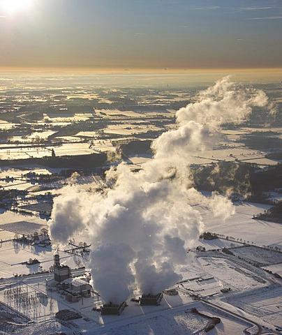 Aerial photo, Uentrop GUD gas turbine power station, snow, Hamm, Ruhr Area, North Rhine-Westphalia, Germany, Europe