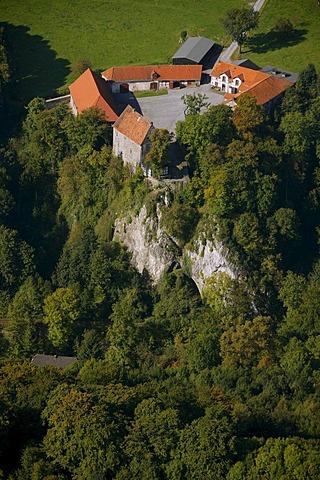 Aerial photo, Burg Klusenstein, Klusenstein Castle, Hemer, Maerkischer Kreis, Sauerland, North Rhine-Westphalia, Germany, Europe