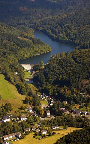 Aerial photo, Lubachtalsperre, Lubach storage lage, Kierspe, Meinerzhagen, Maerkischer Kreis, Sauerland, North Rhine-Westphalia, Germany, Europe