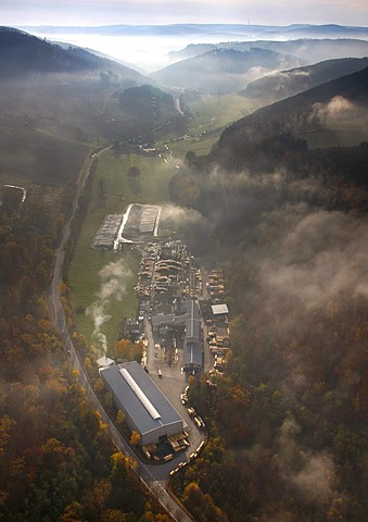 Aerial photo, damages by the Storm Kyrill, lumber yard, Meschede, Sauerland, North Rhine-Westphalia, Germany, Europe